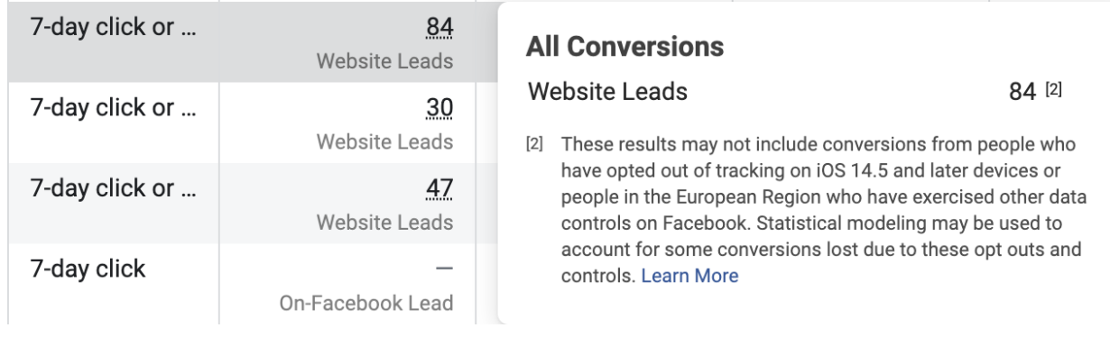 Facebook disclaimer about skewed conversions post iOS 14 update